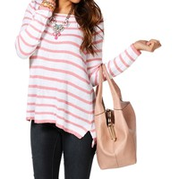 IvoryBlush Stripe Zipper Back Sweater