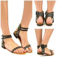 Wild Warrior Black Studded Flat Sandals