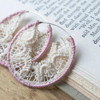 Vintage Lace Earrings: lace earrings, blush, pale pink earrings, dusty rose, dusty pink, shabby chic, romantic, lace hoop, cream, white lace