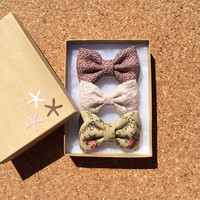 Textured mauve, cream lace, and textured floral hair bows from seaside sparrow. Beautiful gift for her.
