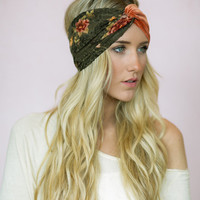 Turban Headband, Rust Velvet & Grunge Lace, Stretchy Twist Headband Fashion Hair Accessories for Women (HB-108)