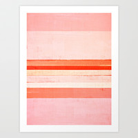Pink and Orange Abstract Art Painting Art Print by T30 Gallery