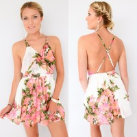 GODDESS FLORAL WRAP PLUNGE NECK CROSS BACK BACKLESS COCKTAIL DRESS 6 8 10 12
