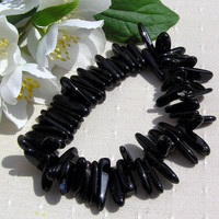 Black Onyx Crystal Gemstone Elasticated Bracelet