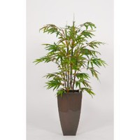 House of Silk Flowers Artificial Black Bamboo Floor Plant in Zinc