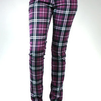 Criminal Damage Skinny Jeans - Tartan Stretch (Purple)