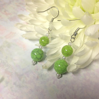 Lime Green Simple Crackle Beaded Dangle Earrings