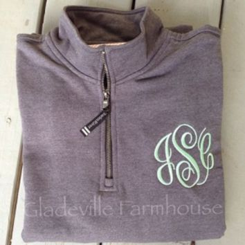 The GF Farmhouse Monogrammed Quarter Zip Sweatshirt