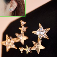 Star Shower Curved Rhinestone Earrings (Only 1 Piercing Needed)