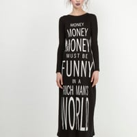 Money Long Sleeved Black Midi Dress by Kelly Shaw