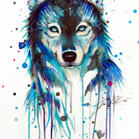 -Dark Wolf- Art Print by PeeGeeArts