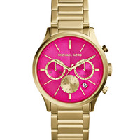Michael Kors Mid-Size Golden/Pink Stainless Steel Bailey Chronograph Watch