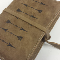 Leather journal or sketchbook arrow free personalization