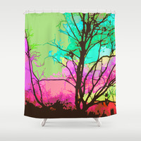 Park Sky Poster Shower Curtain by Nina May