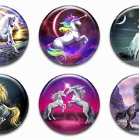 6 New Unicorn 1.25 Pinback Button Badge Poster Sticker Fantasy Shirt Pin Set Two