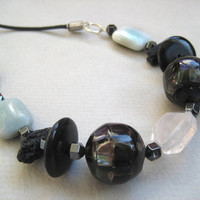 Recycled glass bead crystal hematite tektite nugget jade rectangle wooden disk leather cord necklace