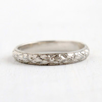 Antique Art Deco 14k White Gold Shell Forget Me Not Ring - Size 6 Flower Milgrain Eternity Wedding Band Orange Blossom Jewelry