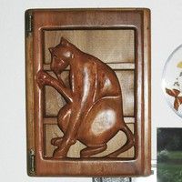 Cat Cabinet - Wood Carved Grooming Feline - Sculpted Pussy Cat | signsofspirit - Woodworking on ArtFire