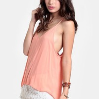 Melon Punch Slit Back Top | Threadsence
