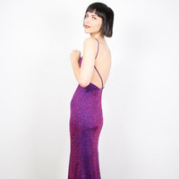 Vintage 90s Dress Pink Purple Glitter Dress Sparkle Dress Backless Dress 1990s Dress Midi Glam Bandage Dress Club Kid Dress XS S Extra Small