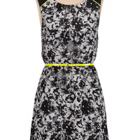 Neon Contrast belt floral print dress