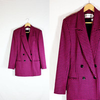 Vintage Ladies JH Collectibles Double Breasted Wool Houndstooth Blazer