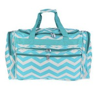 New Fashion Trendy Luggage T22 Yh Duffle Bag Chevron Turquoise - 010 SWT