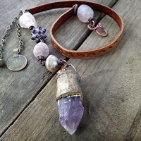 Rustic tribal necklace amethyst, raw stone, kuchi and salvaged leather
