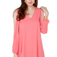 Open Arm Chiffon Dress in Coral