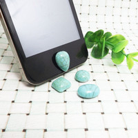 20%OFF 4 Patterns Teardrop Round Square Oval Turquoise Stone Green Gem Home Button Sticker for iPhone 3,4/4s,5,ipad 2,3,4,iPod Touch 2,3,4,5