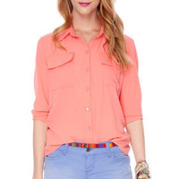 All Work Button Down Blouse in Light Peach :: tobi