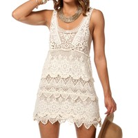 Natural Crochet Sleeveless Tunic