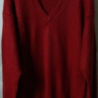 NEW ARRIVAL PERUVIAN ALPACA WOOL MENS SWEATER VNECK RED WARM  SOFT