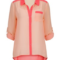 high-low 2 tones chiffon blouse