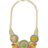 3 medallion cluster statement necklace