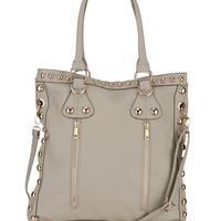 zip front studded tote
