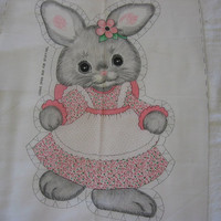 Vintage Fabric Bunny Pillow - Cut, Stuff & Sew Pillow