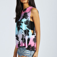 Imogen Palm Tree Print Drop Arm Vest