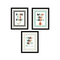 "Silly Bathroom Print Set. Flush the toilet. Wash your Hands. Brush your teeth. Kids bathroom prints. Funny. Typography. 8.5x11"" Prints."