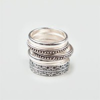 Full Tilt Piece Mixed Ring Set Silver  In Sizes