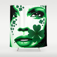 St Patrick Girl with Shamrock on Lips Shower Curtain by Bluedarkat Lem