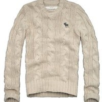 Abercrombie  Fitch Mens Cable Knit Sweater, Oatmeal