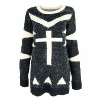 ZLYC Fluffy Cross and Triangle Print Jumper for Women