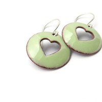 Handmade Pastel Green Heart Earrings, Lichen Enamel on Copper, Sterling Silver Earwires