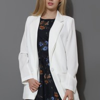 Charms One-Button Boyfriend White Blazer