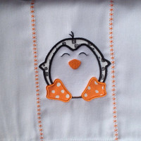 Penguin burp cloth for baby girls or boys. Can be personalized for an extra charge.