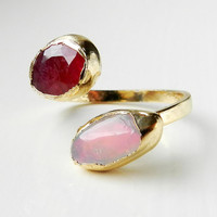 ON SALE Fire opal and ruby ring - Adjustable band - Gold dipped - Luxe gemstone