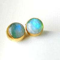 ON SALE Moonstone stud earrings - Gold dipped - Rainbow - Mint green