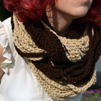 Neutral colors beige and chocolate chunky crocheted loop infinity scarf, cowl, chain necklace