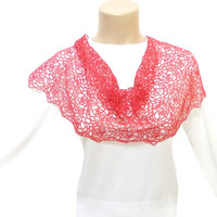 Lace Shawl, Lace Scarf, Red, Prom dress shawl, Floral shawl, Red flowers, Wedding Shawl, Free Ship, Wraps shawl, Wrap, French Lace Shawl